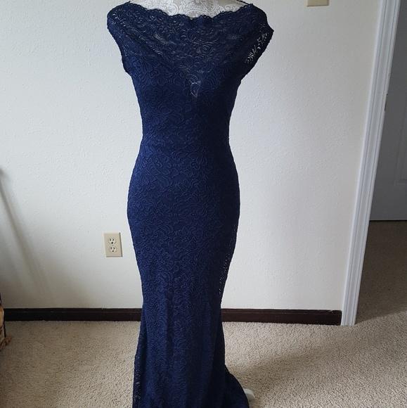 573ca27ed7aa Windsor Navy Blue Lace Short sleeve prom dress. M_5ad2a496f9e5016d1ada63ae